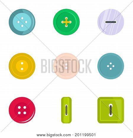 Fashion clothes button icon set. Flat set of 9 fashion clothes button vector icons for web isolated on white background