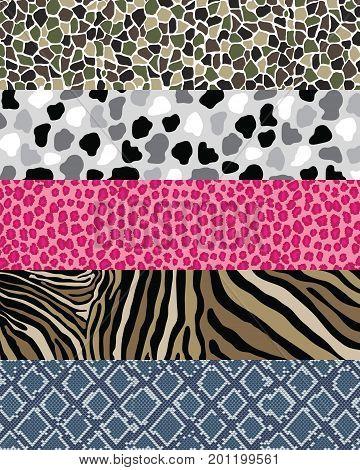 Camouflage Animal skin , Pattern set , leopard,zebra,snake,cow,giraffe