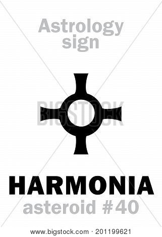 Astrology Alphabet: HARMONIA, asteroid #40. Hieroglyphics character sign (single symbol).