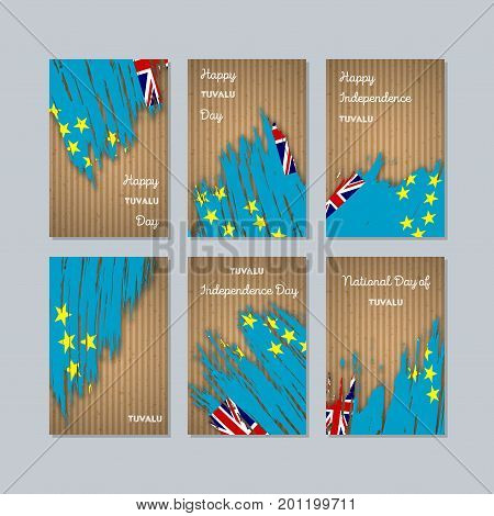 Tuvalu Patriotic Cards For National Day. Expressive Brush Stroke In National Flag Colors On Kraft Pa