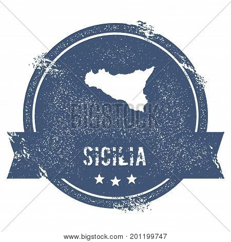 Sicilia Logo Sign. Travel Rubber Stamp With The Name And Map Of Island, Vector Illustration. Can Be