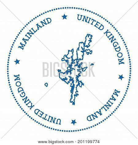 Mainland Map Sticker. Hipster And Retro Style Badge. Minimalistic Insignia With Round Dots Border. I