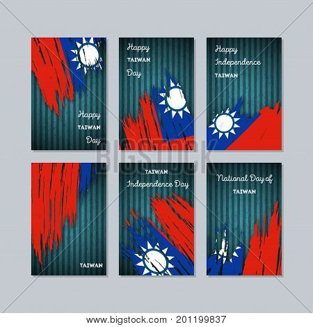 Taiwan Patriotic Cards For National Day. Expressive Brush Stroke In National Flag Colors On Dark Str