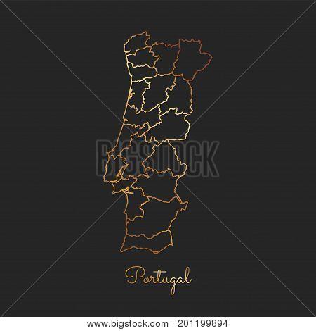 Portugal Region Map: Golden Gradient Outline On Dark Background. Detailed Map Of Portugal Regions. V
