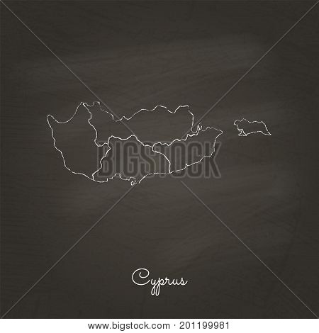 Cyprus Region Map: Hand Drawn With White Chalk On School Blackboard Texture. Detailed Map Of Cyprus