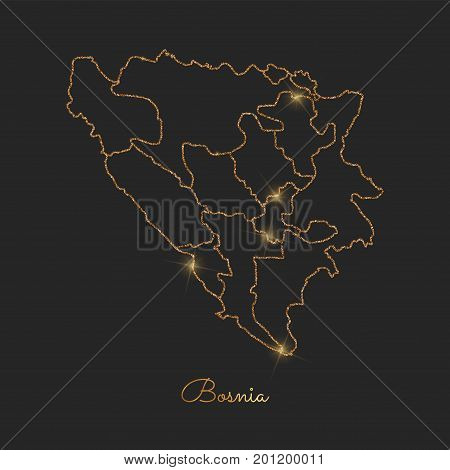 Bosnia Region Map: Golden Glitter Outline With Sparkling Stars On Dark Background. Detailed Map Of B