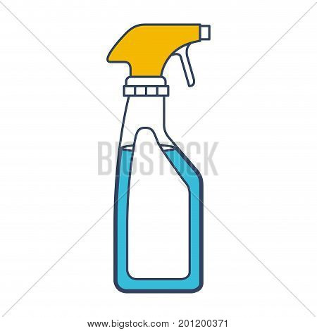 color blue and yellow sections silhouette of laundry spray bottle vector illustration