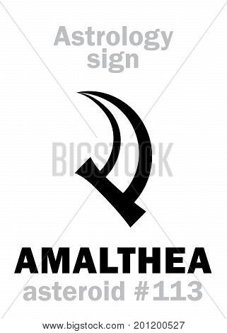Astrology Alphabet: AMALTHEA (Cornucopia), asteroid #113. Hieroglyphics character sign (single symbol).