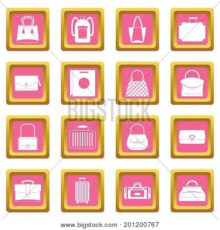 Bag baggage suitcase icons set in pink color isolated vector illustration for web and any design