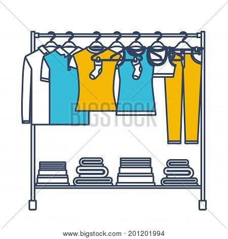 color blue and yellow sections silhouette of clothes rack with t-shirts and pants on hangers and fold clothes on bottom vector illustration