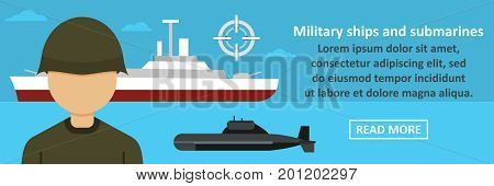 Military ships and submarines banner horizontal concept. Flat illustration of military ships and submarines banner horizontal vector concept for web