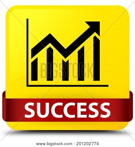 Success (statistics Icon) Yellow Square Button Red Ribbon In Middle