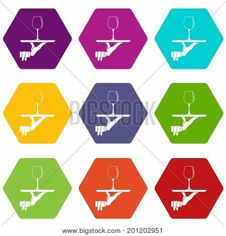 Waiter hand holding tray with wine glass icon set many color hexahedron isolated on white vector illustration