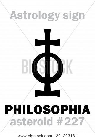 Astrology Alphabet: PHILOSOPHIA, asteroid #227. Hieroglyphics character sign (single symbol).