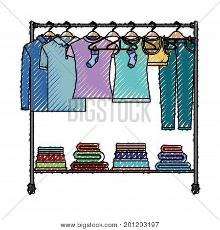 colored crayon silhouette of clothes rack with t-shirts and pants on hangers and fold clothes on bottom vector illustration