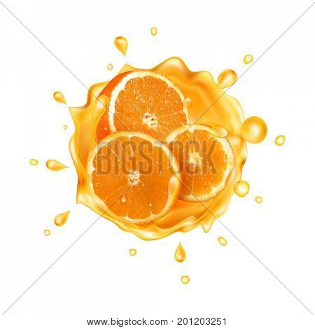 The raster version Orange juice. Realistic splash of juice with orange and orange slices. Fresh fruit. Orange water splash.