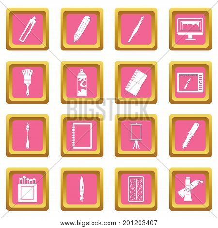 Design and drawing tools set. Simple illustration of 16 design and drawing tools vector icons set in pink color isolated vector illustration for web and any design