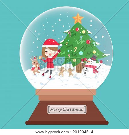 cartoon woman with christmas in the crystal ball