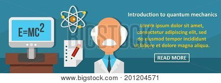 Introduction to quantum mechanics banner horizontal concept. Flat illustration of introduction to quantum mechanics banner horizontal vector concept for web