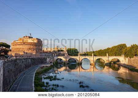 Castel Sant'Angelo and the Ponte Sant'Angelo by the Tiber River in Rome Italy