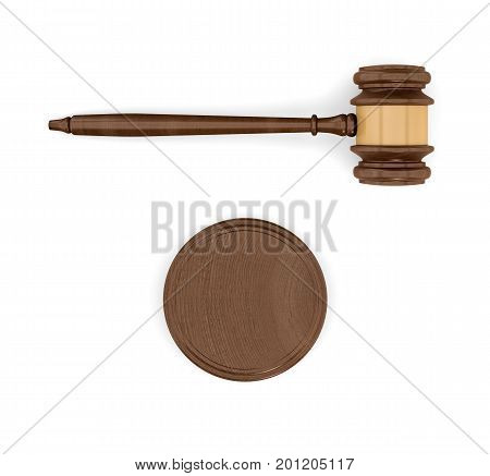 3d rendering of an isolated dark wood judge gavel and sound block in top view. Court proceeding. Judicial system. Law and crime.