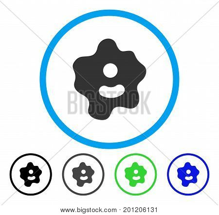Ameba rounded icon. Vector illustration style is a flat iconic symbol inside a circle, black, grey, blue, green versions. Designed for web and software interfaces.