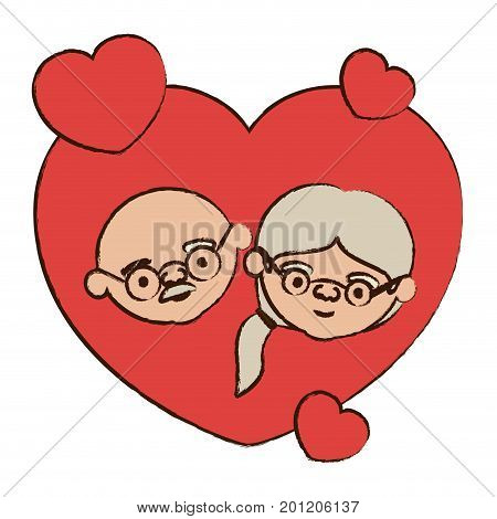 color heart shape greeting card decorative with caricature face of bald grandfather with glasses and grandmother with ponytail side hair vector illustration