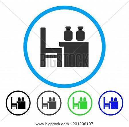 Apothecary Table rounded icon. Vector illustration style is a flat iconic symbol inside a circle, black, gray, blue, green versions. Designed for web and software interfaces.