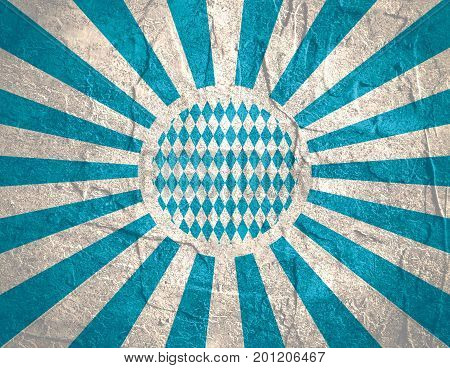 Oktoberfest bavarian traditional blue and rhombus background pattern. Blue radial sun rays. Grunge distress texture.