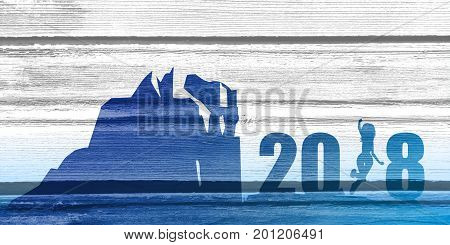 Silhouette young woman jumping over 2018 year number at the hill while celebrating new year. Wood texture