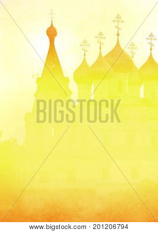 Church in the Vologda city. Yellow silhouette in the fog