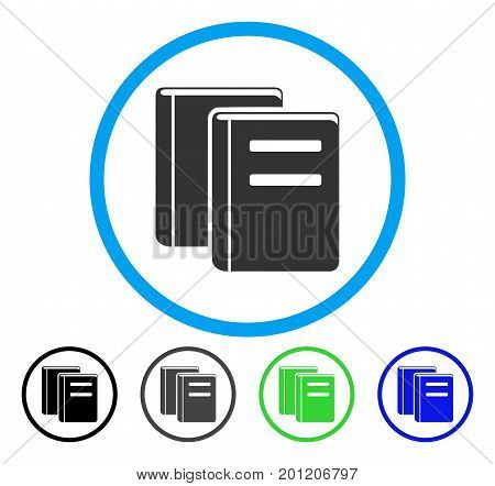 Books rounded icon. Vector illustration style is a flat iconic symbol inside a circle, black, gray, blue, green versions. Designed for web and software interfaces.