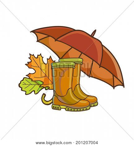 Autumn or fall concept with rain boots