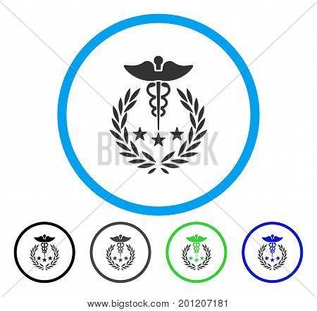 Caduceus Logo rounded icon. Vector illustration style is a flat iconic symbol inside a circle, black, gray, blue, green versions. Designed for web and software interfaces.