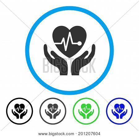 Cardiology rounded icon. Vector illustration style is a flat iconic symbol inside a circle, black, grey, blue, green versions. Designed for web and software interfaces.