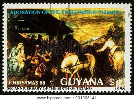Moscow Russia - August 24 2017: A stamp printed in Guyana shows painting