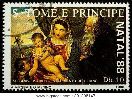 Moscow Russia - August 24 2017: A stamp printed in Sao Tome and Principe shows painting