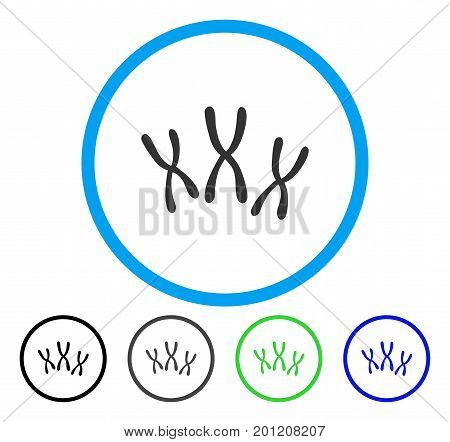Chromosomes rounded icon. Vector illustration style is a flat iconic symbol inside a circle, black, grey, blue, green versions. Designed for web and software interfaces.