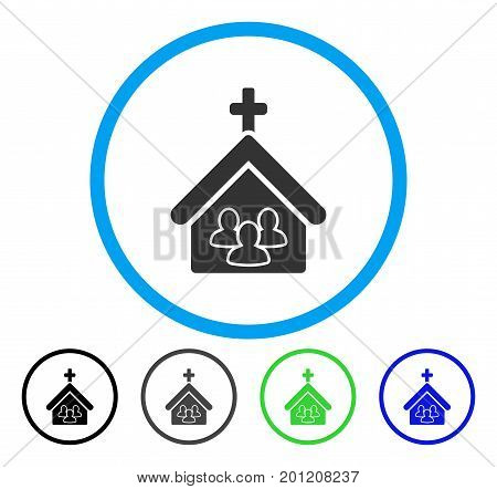 Church People rounded icon. Vector illustration style is a flat iconic symbol inside a circle, black, gray, blue, green versions. Designed for web and software interfaces.