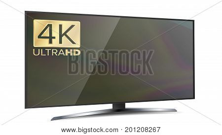 4k TV Vector Screen. Ultra HD Resolution Format. Modern LCD Digital Wide Television Plasma Concept. Isolated Illustration