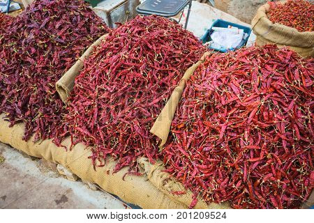 Sale Of Red Hot Peppers In India
