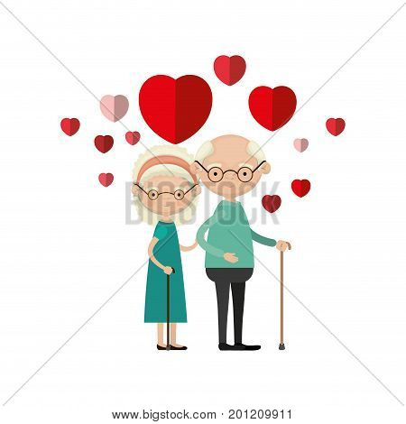 colorful caricature full body elderly couple embraced with floating hearts grandfather with glasses in walking stick and grandmother with bow lace and curly hair vector illustration poster