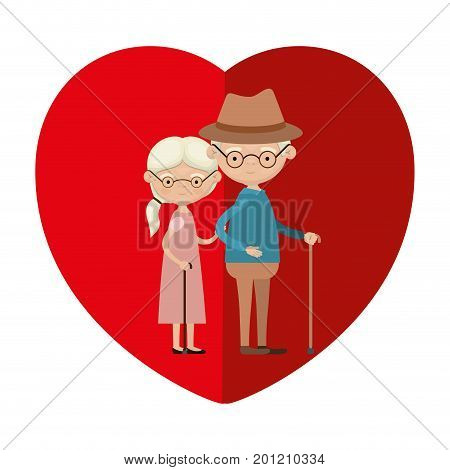 colorful heart shape greeting card with caricature full body elderly couple embraced grandfather with hat in walking stick and grandmother with ponytail side hair vector illustration