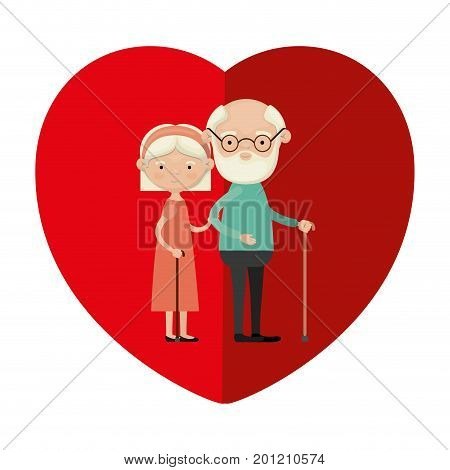 colorful heart shape greeting card with caricature full body elderly couple embraced bearded grandfather in walking stick and grandmother with bow lace and straight hair vector illustration poster