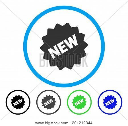 New Tag rounded icon. Vector illustration style is a flat iconic symbol inside a circle, black, gray, blue, green versions. Designed for web and software interfaces.