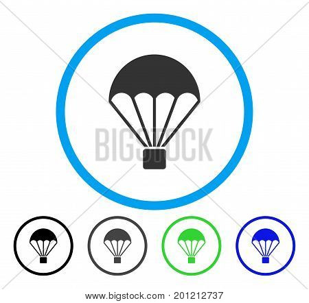 Parachute rounded icon. Vector illustration style is a flat iconic symbol inside a circle, black, grey, blue, green versions. Designed for web and software interfaces.