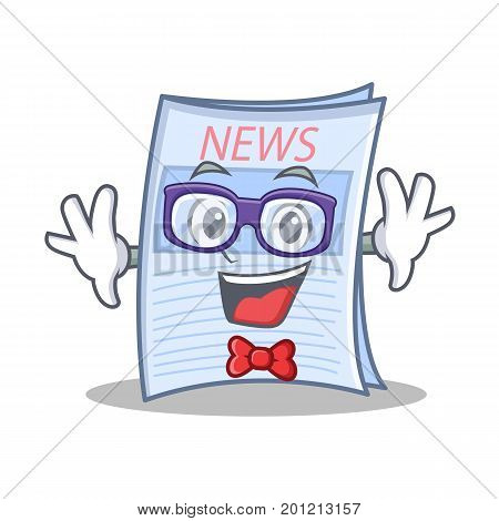 Geek newspaper character cartoon style vector illustration
