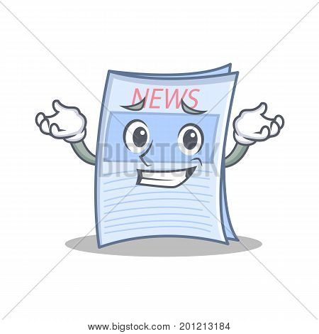 Grinning newspaper character cartoon style vector illustration