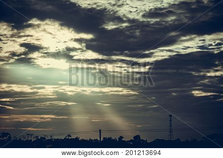 Silhouette, Antenna Of Cellular And Communication System Tower With The Blue Sky And Cloud