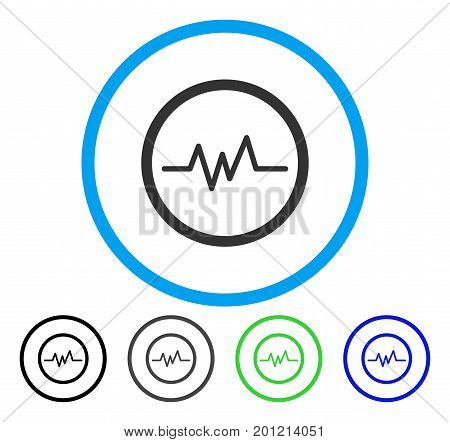 Pulse Monitoring rounded icon. Vector illustration style is a flat iconic symbol inside a circle, black, grey, blue, green versions. Designed for web and software interfaces.